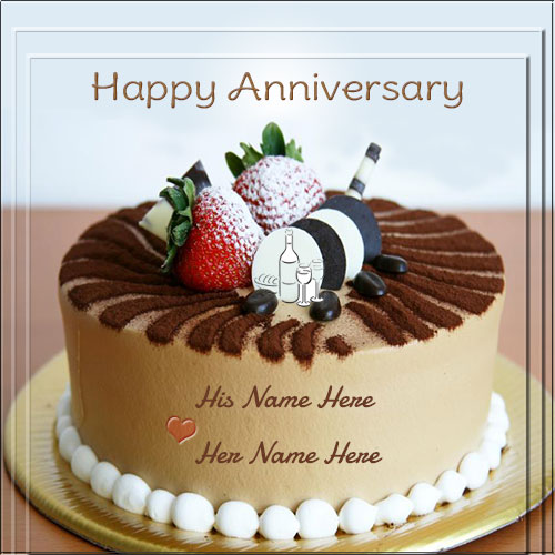 Elegant Happy Anniversary Cake With Couple Name