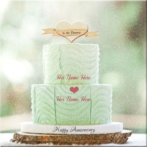 Mint Green Happy Anniversary Cake With Couple Name