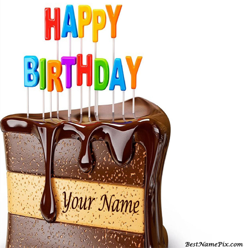 Write Your Name On Yummy Black Forest Choco Cake