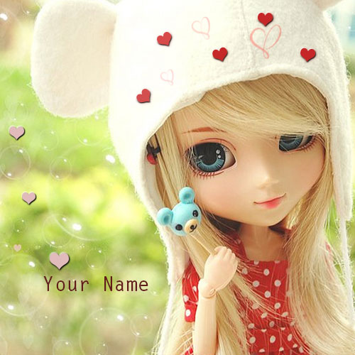 Print Name On Little Beautiful Barbie Doll Picture