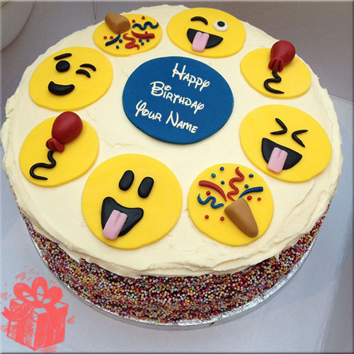 Smiley Faces Birthday Cake Pics With Custom Name