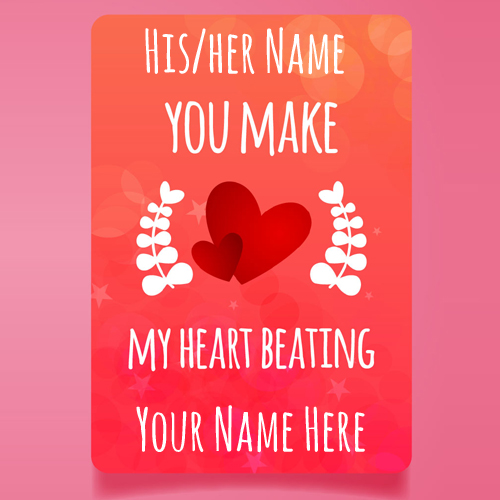 Happy Valentines Day Love Greeting With Your Name