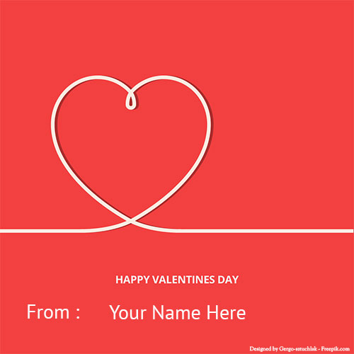 Write Your Name On Happy Valentines Day Heart Photo