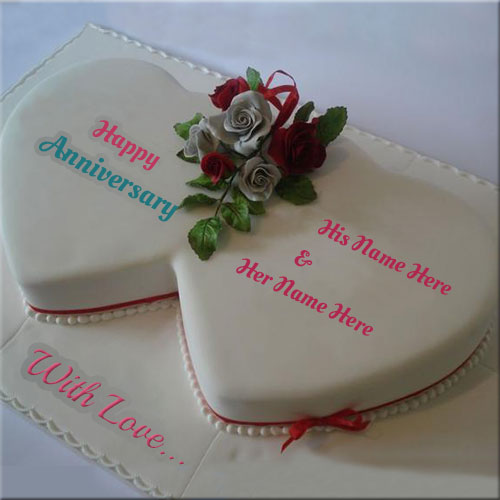 Generate Anniversary White Heart Cake With Couple Name
