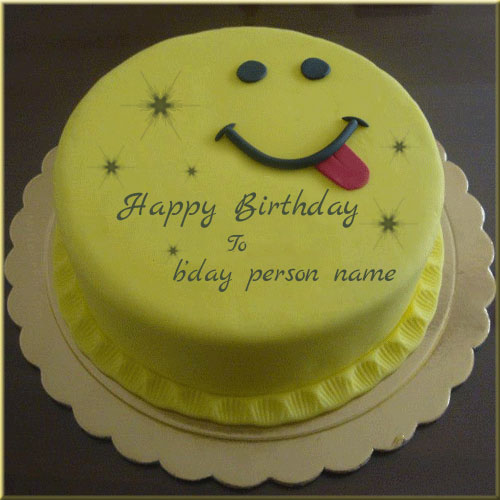 Smiley Emoji Happy Birthday Cake Name Pics