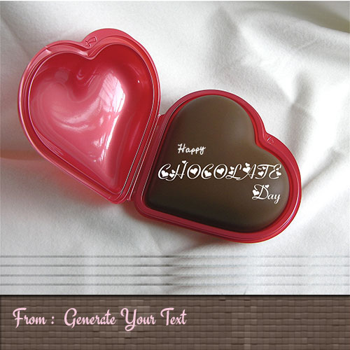 Generate Happy Chocolate Day Heart Locket With Name