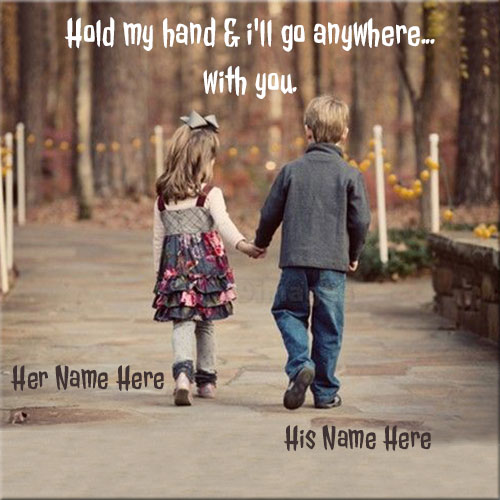 Cute Baby Couple Holding Hand Picture With Name