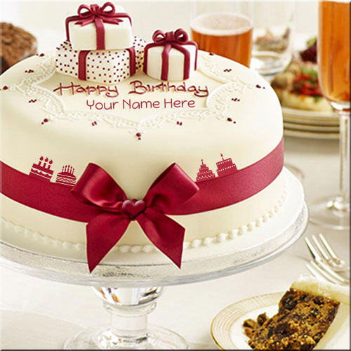 Write Your Name On Happy Birthday Celebration Cake Online Fr - Birthday cake with a name