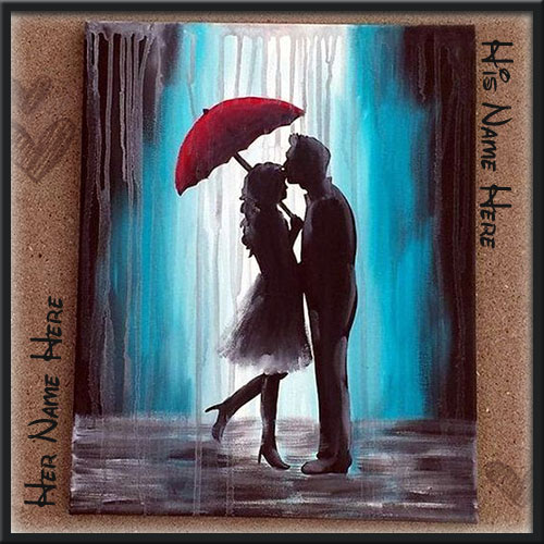 Romantic Couple Under Umbrella Picture With Name