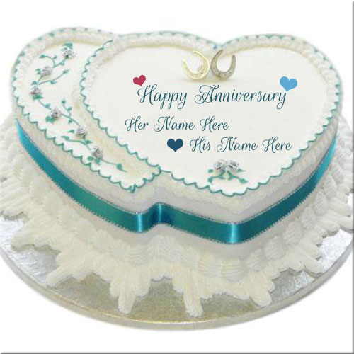 Couple Heart Anniversary Wishes Cake With Custom Name