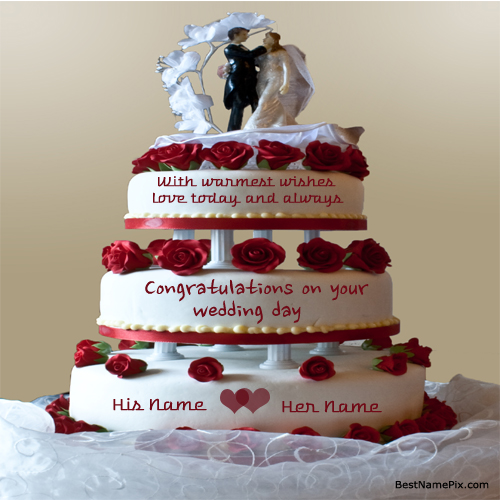 Cake Images And Names : Write Your Name On Big Rose Wedding Cake Wishes Pictur